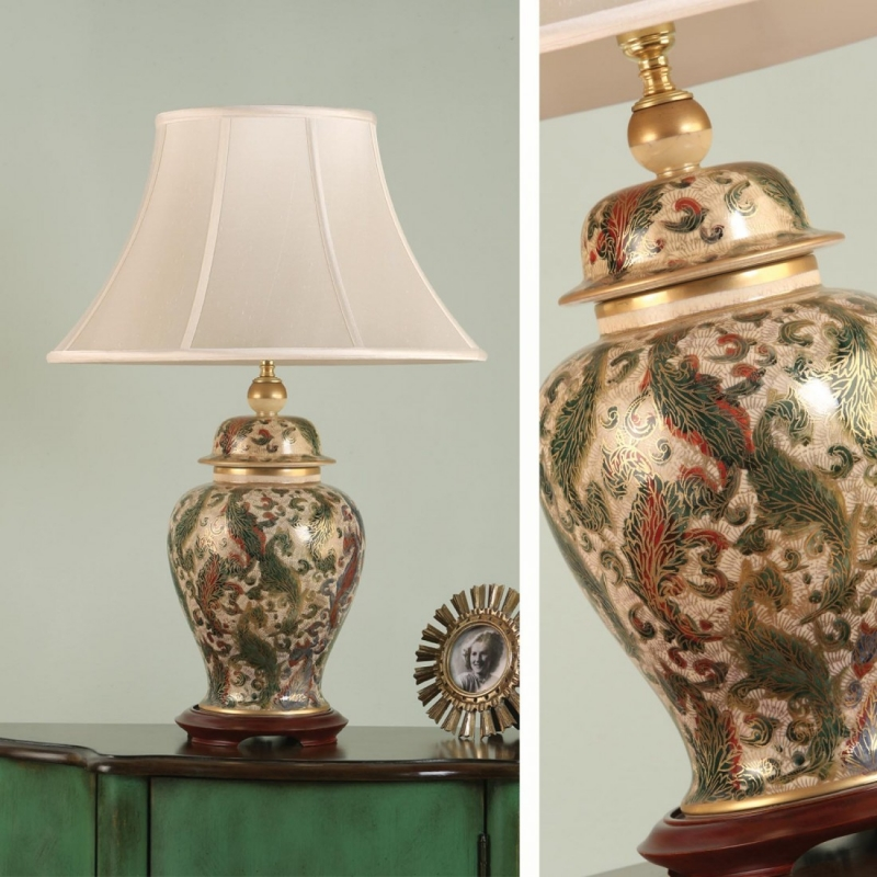 Rj332 kutani hand painted pottery table lamps interiors1900 hover to zoom mozeypictures Images